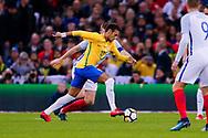 Brazil Paris Saint Germain PSG midfielder Neymar (10) looks to shoot during the International Friendly match between England and Brazil at Wembley Stadium, London, England on 14 November 2017. Photo by Simon Davies.