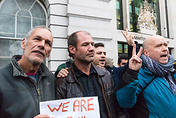 James Matthews (centre), 43, arrives at Westminster Magistrates Court where he faces a charge of attending a place used for terrorist training, under the Terrorism Act 2006, after fighting against ISIS with the Kurdish YPG militia. London, February 14 2018.