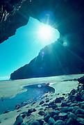 Honopu Arch, Napali Coast, Kauai, Hawaii, USA<br />