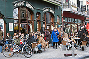 alfresco dining at the Sunday market in Liege, Belgium