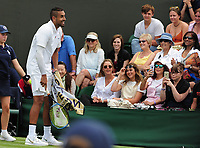 Tennis - 2019 Wimbledon Championships - Week One, Tuesday (Day Two)<br /> <br /> Men's Singles, 1st Round: Nick Kyrgios (AUS) v Jordan Thompson (AUS)<br /> <br /> Nick Kyrgios  jokes with the crowd on Court 3<br /> <br /> COLORSPORT/ANDREW COWIE