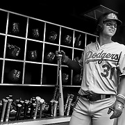 Joc Pederson, Los Angeles Dodgers, in the dugout preparing to bat during the New York Mets Vs Los Angeles Dodgers MLB regular season baseball game at Citi Field, Queens, New York. USA. 26th July 2015. Photo Tim Clayton