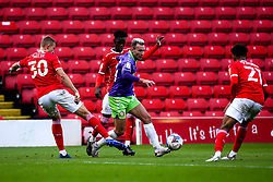 Andreas Weimann of Bristol City goes past Michal Helik of Barnsley - Mandatory by-line: Robbie Stephenson/JMP - 17/10/2020 - FOOTBALL - Oakwell Stadium - Barnsley, England - Barnsley v Bristol City - Sky Bet Championship