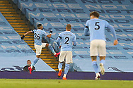 GOAL 1-0 Manchester City midfielder Riyad Mahrez (26) scores a goal and celebrates during the Premier League match between Manchester City and Burnley at the Etihad Stadium, Manchester, England on 28 November 2020.