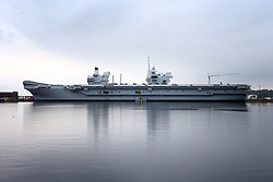 A general view of the Royal Navy's new aircraft carrier HMS Queen Elizabeth, at Rosyth Dockyard in Dunfermline.
