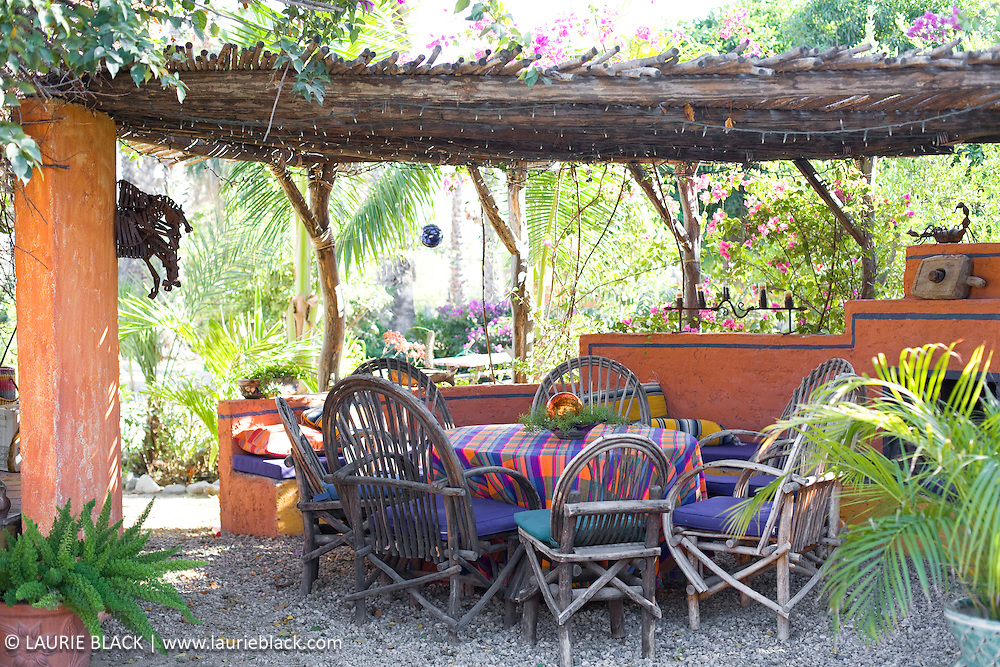 Colorful outdoor palapa dining room
