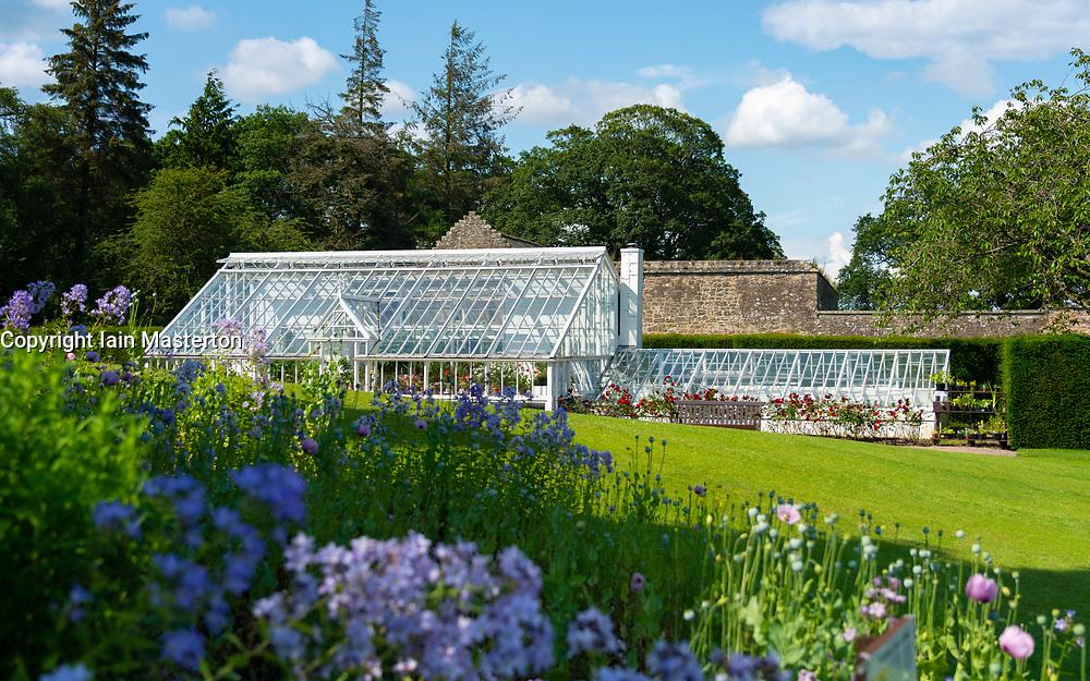 Exterior of garden at Falkland Palace in Falkland, Fife, Scotland, UK