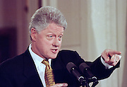 President Clinton during his first solo news conference in almost a year, in the East Room of the White House March 19, 1999. Clinton covered a wide variety of topics from Kosovo to his wife's rumored run for  the Senate.