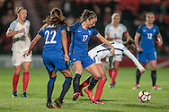 Alex Scott (England) is pushed off the ball by Gaetane Thiney (France) during the International Friendly match between England Women and France Women at the Keepmoat Stadium, Doncaster, England on 21 October 2016. Photo by Mark P Doherty.