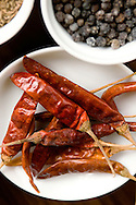 Torkad chili.<br /> <br /> Dried Chili. Ayurveda Cooking at Barberyn Ayurveda Resort, Sri Lanka.