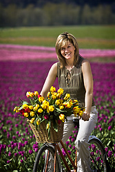 July 21, 2019 - Woman With Tulips In Bicycle Basket (Credit Image: © Richard Wear/Design Pics via ZUMA Wire)