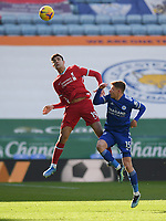 Football - 2020 / 2021 Premier League - Leicester City vs Liverpool - King Power Stadium<br /> <br /> Liverpool's Ozan Kabak battles with Leicester City's Harvey Barnes.<br /> <br /> COLORSPORT/ASHLEY WESTERN