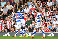Queens Park Rangers Forward Idrissa Sylla (40) celebrates scoring a goal (1-1) during the EFL Sky Bet Championship match between Brentford and Queens Park Rangers at Griffin Park, London, England on 21 April 2018. Picture by Stephen Wright.
