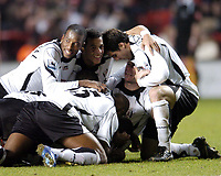Photo: Olly Greenwood.<br />Charlton Athletic v Fulham. The Barclays Premiership. 27/12/2006. Fulham's Franck Queudrue celebrates scoring the equalizing goal with his team mates