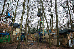 The exterior of Wendover Active Resistance Camp is pictured on 20th February 2021 in Wendover, United Kingdom. Activists opposed to HS2 continue to occupy a series of such wildlife protection camps along the Phase One route of the HS2 high-speed rail link between London and Birmingham.