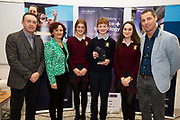 24/11/2019 repro free:<br />  Paul Mee, Chairperson, Galway Science and Technology Festival, Anne Murray Galway Science  and Technology Festival  Niah McCarthy, Samuel Regan and  Aibhe Regan from Presentation College Athenry with Ronan Rogers - Senior R&D Director, Medtronic  Awardees at the  Galway Science and Technology Festival, exhibition at NUI Galway where over 20,000 people attended exhibition stands  from schools to Multinational Companies . Photo:Andrew Downes, xposure