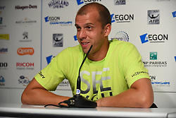 June 23, 2017 - London, United Kingdom - Gilles Muller of Luxembourg is pictured in the press conference at AEGON Championships at Queen's Club, London, on June 23, 2017. (Credit Image: © Alberto Pezzali/NurPhoto via ZUMA Press)