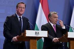 © Licensed to London News Pictures. 07/01/2016. Budapest, Hungary. British Prime Minister DAVID CAMERON and Hungarian PM Viktor Orban at a press conference at the Hunagrian Parliament on 7th of January, 2016. Photo credit : Gabriel Szabo/LNP