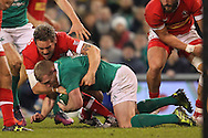 Keith Earls of Ireland and Nick Blevins of Canada during the 2016 Guinness Series  autumn international rugby match, Ireland v Canada at the Aviva Stadium in Dublin, Ireland on Saturday 12th November 2016.<br /> pic by  John Halas, Andrew Orchard sports photography.