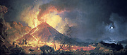 Eruption of Vesuvius' by Pierre Jacques Votaire,(1729-1790) French painter.  Oil on canvas. Musee des Beaux Arts, Le Havre.