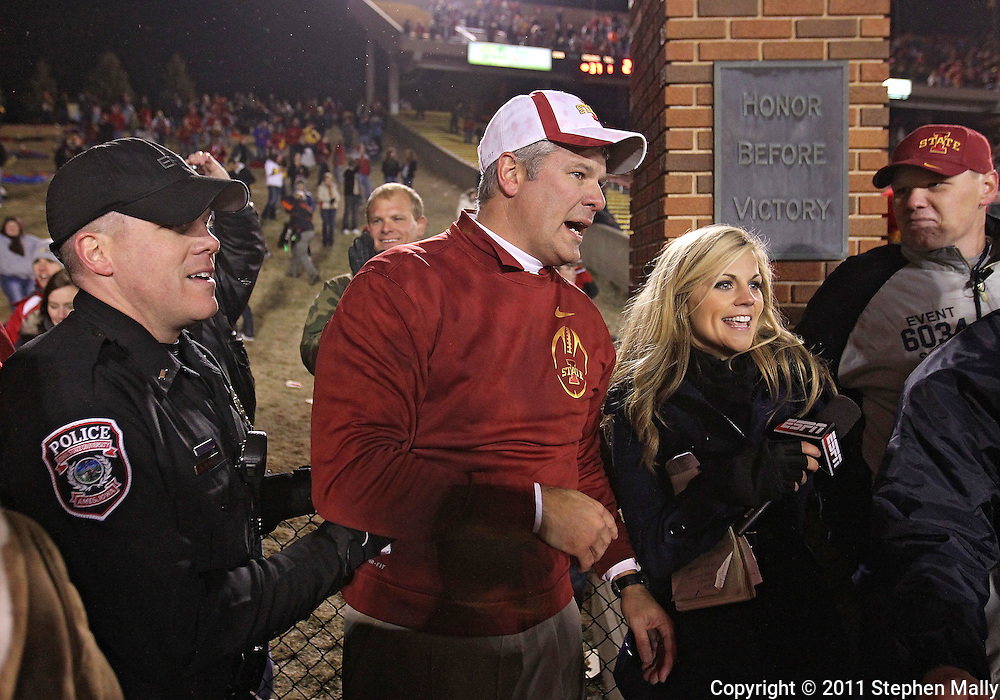 November 18, 2011: Iowa State Cyclones head coach Paul Rhoads after the end of the NCAA football game between the Oklahoma State Cowboys and the Iowa State Cyclones at Jack Trice Stadium in Ames, Iowa on Friday, November 18, 2011. Iowa State upset Oklahoma State 37-31 double overtime.