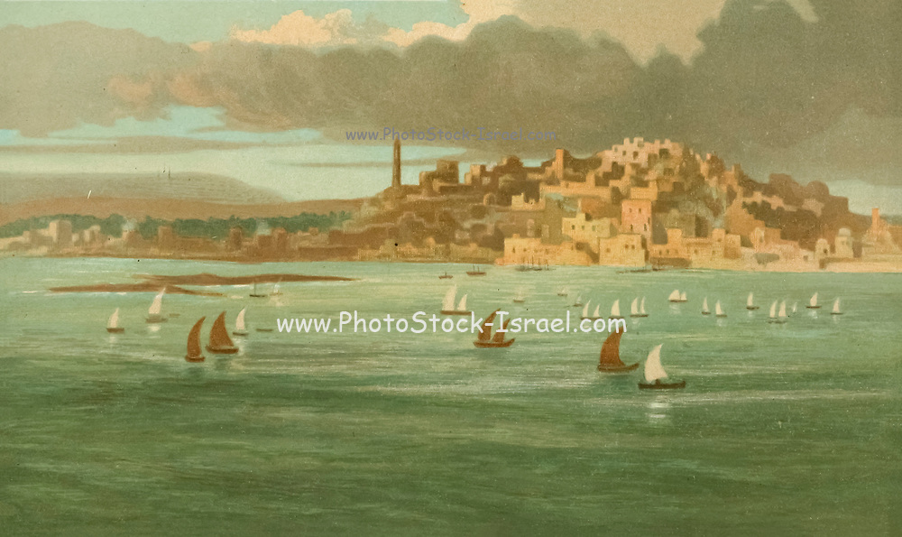 Coloured Illustration of Joppa of Jaffa as seen from the Mediterranean Sea from the book Palestine illustrated by Sir Richard Temple, 1st Baronet, GCSI, CIE, PC, FRS (8 March 1826 – 15 March 1902) was an administrator in British India and a British politician. Published in London by W.H. Allen & Co. in 1888