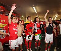 20100509: LISBON, PORTUGAL - SL Benfica vs Rio Ave: Portuguese League 2009/2010, 30th round. Players celebrations in the locker room. In picture: Maxi Pereira, Javier Saviola, Javi Garcia, David Luiz and Nuno Gomes. PHOTO: CITYFILES