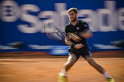 April 27, 2018 - Barcelona, Catalonia, Spain - MARTIN KLIZAN (SVK) returns the ball to Rafael Nadal (ESP) in their quarter final of the 'Barcelona Open Banc Sabadell' 2018. Nadal won 6:0, 7:5 (Credit Image: © Matthias Oesterle via ZUMA Wire)