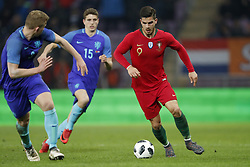 (L-R) Matthijs de Ligt of Holland, Guus Til of Holland, Andre Silva of Portugal, during the International friendly match match between Portugal and The Netherlands at Stade de Genève on March 26, 2018 in Geneva, Switzerland