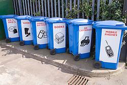 Various recycling bins at city tip,