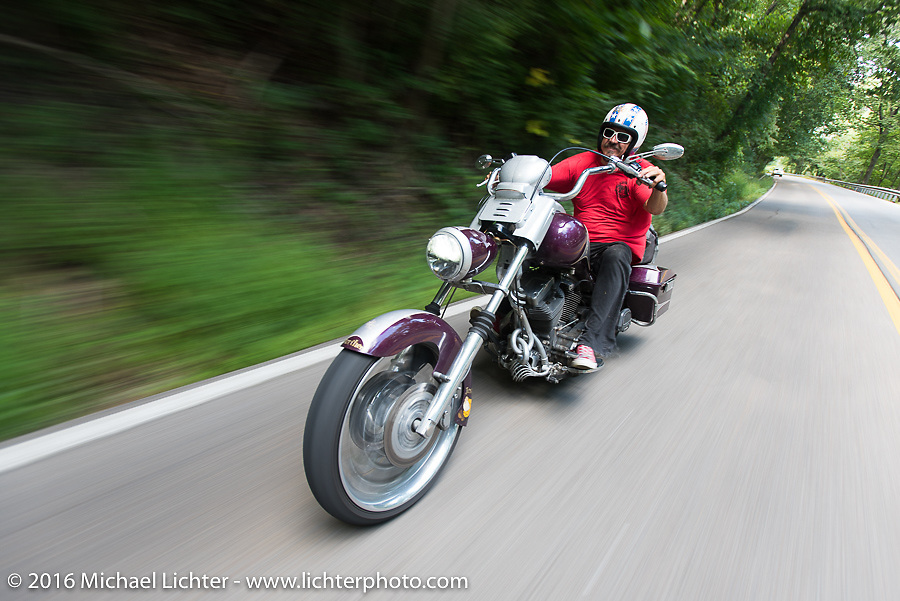 Bean're riding to shoot his video interviews during Stage 3 of the Motorcycle Cannonball Cross-Country Endurance Run, which on this day ran from Columbus, GA to Chatanooga, TN., USA. Sunday, September 7, 2014.  Photography ©2014 Michael Lichter.