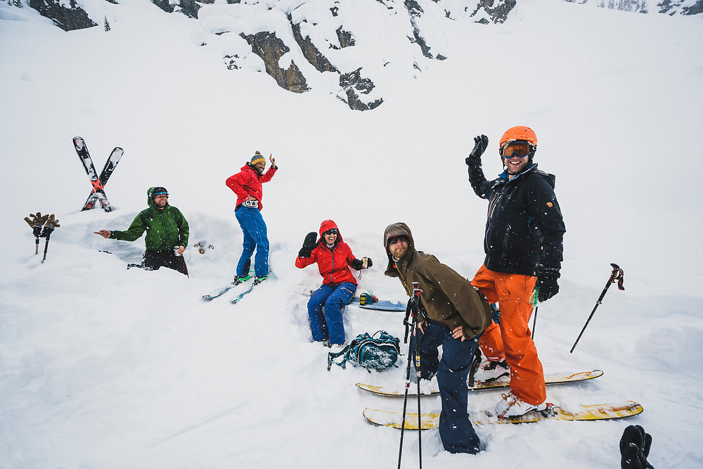 Spontaneous dance party at the backcountry beer chest, Meadow Hut, Esplanade Range, BC. Chris Hassig, Ben Duke, Tarn Udall, Matt Kennedy, and Travis Green.