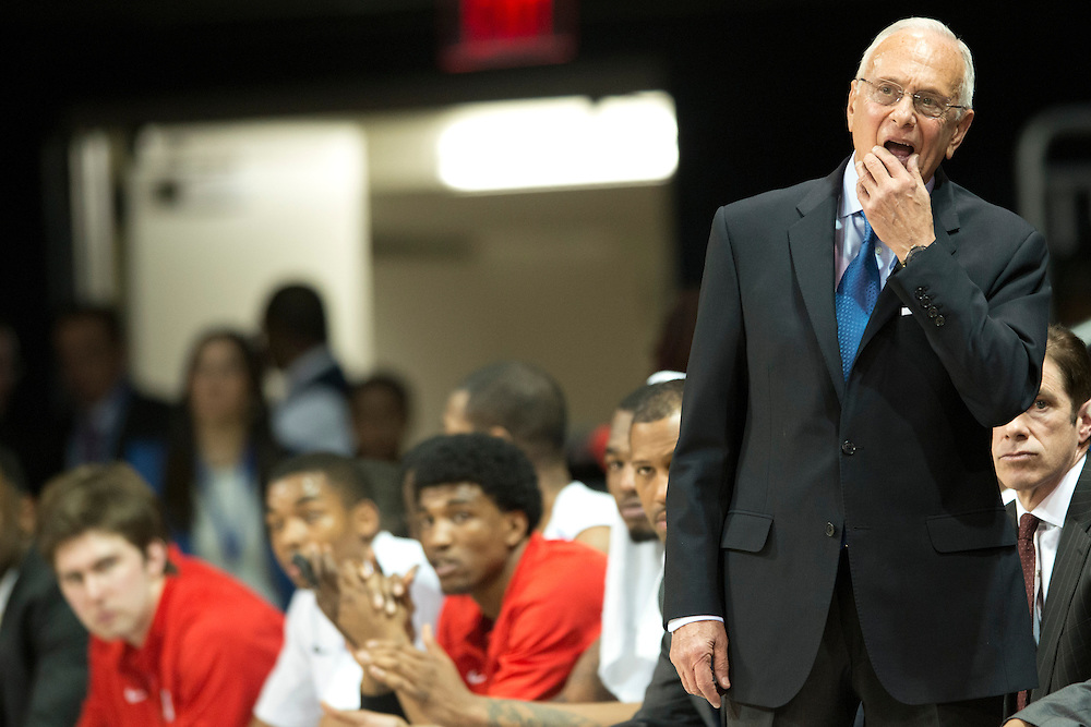 DALLAS, TX - FEBRUARY 6: SMU Mustangs head coach Larry Brown has words with his team against the Temple Owls on February 6, 2014 at Moody Coliseum in Dallas, Texas.  (Photo by Cooper Neill) *** Local Caption *** Larry Brown