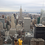 A panoramic view of Manhattan, New York, from the Top of the Rock, the observatory deck at Rockefeller Center showing the Empire State Building, Manhattan, New York, USA. 14th January 2013. Photo Tim Clayton
