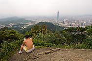 """""""95 Peak"""" is a small mountain next to Taipei, Taiwan.  It's ans easy climb from the city center and affords beautiful views."""