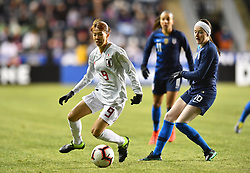 February 27, 2019 - Chester, PA, U.S. - CHESTER, PA - FEBRUARY 27: Japan Midfielder Hina Sugita (9) defends the ball from US Midfielder Rose Lavelle (16) in the first half during the She Believes Cup game between Japan and the United States on February 27, 2019 at Talen Energy Stadium in Chester, PA. (Photo by Kyle Ross/Icon Sportswire) (Credit Image: © Kyle Ross/Icon SMI via ZUMA Press)