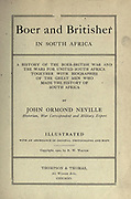Title page from the book ' Boer and Britisher in South Africa; a history of the Boer-British war and the wars for United South Africa, together with biographies of the great men who made the history of South Africa ' By Neville, John Ormond Published by Thompson & Thomas, Chicago, USA in 1900