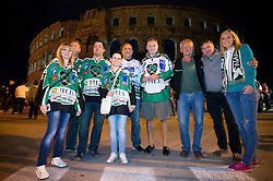 14.09.2012. Pula Arena, Pula, CRO, EBEL, KHL Medvescak Zagreb vs HDD Telemach Olimpija Ljubljana, 03. Runde, in picture Fans of Olimpija prior to the Erste Bank Icehockey League 3rd Round match between KHL Medvescak Zagreb and HDD Telemach Olimpija Ljubljana at the Pula Arena, Pula, Croatia on 2012/09/14. (Photo By Vid Ponikvar / Sportida)
