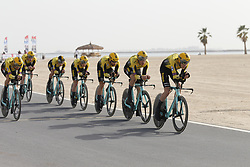 February 24, 2019 - Abu Dhabi, UNITED ARAB EMIRATES - Team Jumbo-Visma riders pictured in action during the first stage of the 'UAE Tour' 2019 cycling race, a 16km team time trial on the Al Hudayriat Island in Abu Dhabi, United Arab Emirates, Sunday 24 February 2019. This year's edition is taking place from 24 February to 2 March. ..BELGA PHOTO YUZURU SUNADA FRANCE OUT (Credit Image: © Yuzuru Sunada/Belga via ZUMA Press)