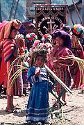 GUATEMALA, FESTIVALS Semana Santa (Easter Week) religious procession in Maya Indian village of Zunil