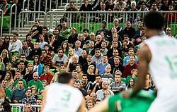 Supporters during basketball match between KK Cedevita Olimpija and Darussafaka Tekfen Istanbul in 1st Round of Eurocup 2019/20, on October 2, 2019 in Arena Stozice, Ljubljana, Slovenia. Photo by Vid Ponikvar / Sportida