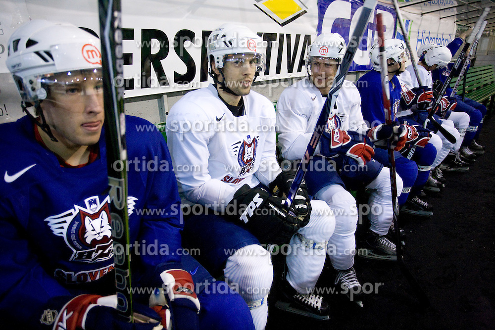 Robert Sabolic, David Rodman and Mitja Robar at first practice of Slovenian National Ice hockey team before World championship of Division I - group B in Ljubljana, on April 5, 2010, in Hala Tivoli, Ljubljana, Slovenia.  (Photo by Vid Ponikvar / Sportida)