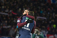 Edinson Cavani congratulated Angel Di MAria (psg) after scored a goal during the French Cup football match between Paris Saint-Germain and Marseille on February 28, 2018 at Parc des Princes Stadium in Paris, France - Photo Pierre Charlier / ProSportsImages / DPPI