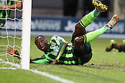 Ade Azeez of AFC Wimbledon scores what proves to be the winner during the Sky Bet League 2 match between Barnet and AFC Wimbledon at Underhill Stadium, London, England on 20 February 2016. Photo by Stuart Butcher.