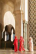 Women wearing headscarves in Hassan II Mosque in Casablanca, Morocco