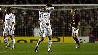 Photo: Chris Ratcliffe.<br /> Arsenal v Real Madrid. UEFA Champions League. 08/03/2006.<br /> David Beckham is gutted