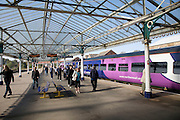 Train at platform with passengers, Bridlington station, Yorkshire, England