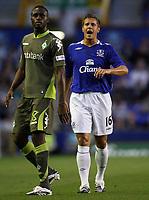 Photo: Paul Thomas.<br />Everton v Werder Bremen. Pre Season Friendly. 31/07/2007.<br /><br />New signing Phil Jagielka (R) of Everton marks up to Boubacar Sanogo.