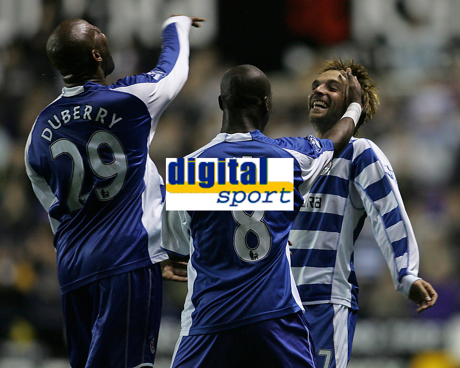 Photo: Lee Earle.<br /> Reading v Liverpool. Carling Cup. 25/09/2007. Reading's Michael Dubbery (L) and Leroy Lita (C) congratulate Bobby Convey after he scored their first goal.