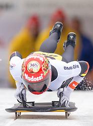 19.02.2016, Olympiaeisbahn Igls, Innsbruck, AUT, FIBT WM, Bob und Skeleton, Damen, Skeleton, 1. Lauf, im Bild Tina Hermann (GER) // Tina Hermann of Germany competes during women Skeleton 1st run of FIBT Bobsleigh and Skeleton World Championships at the Olympiaeisbahn Igls in Innsbruck, Austria on 2016/02/19. EXPA Pictures © 2016, PhotoCredit: EXPA/ Johann Groder